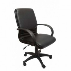 RAPIDLINE CL610 EXECUTIVE CHAIR, MEDIUM BACK, PU, BLACK ARMS AND BASE, SINGLE POINT TILT
