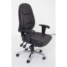 RAPIDLINE PU300 ERGONOMIC CHAIR, ADJUSTABLE ARMS, CHROME BASE